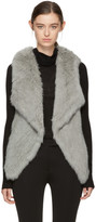 Yves Salomon Grey Knit Fur Lapel Vest