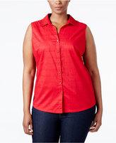 Karen Scott Plus Size Eyelet Shirt, Only at Macy's