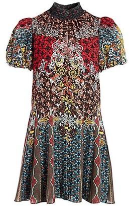 Alice + Olivia Janis Mixed Print Mini Dress