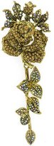 PYNK JEWELLERY Oversized Antique Gold Topaz and AB Crystal Rose with Leaves Brooch