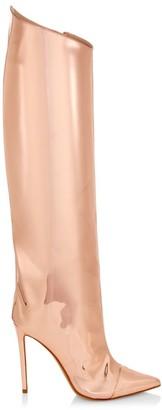 Alexandre Vauthier Alex Mirror Metallic Leather Tall Boots