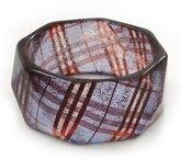 Avalaya Glittering Faceted Resin 'Tartan Pattern' Bangle Bracelet In Purple/Red - 20cm Length