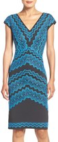 Tadashi Shoji Embroidered Knit Sheath Dress