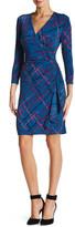 Anne Klein Long Sleeve Printed Drape Dress