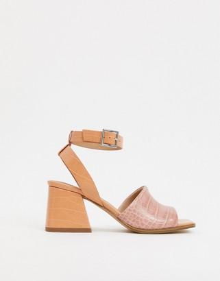 ASOS DESIGN Helsa mid-heeled sandals in beige croc