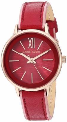 Anne Klein Women's Rose Gold-Tone and Burgundy Leather Strap Watch AK/3446BYPK