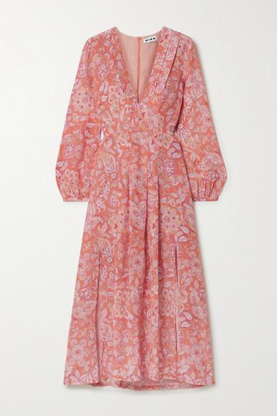 Rixo Camellia Pleated Floral-print Silk Crepe De Chine Midi Dress - Peach