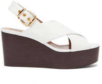 Marni Crossover-strap Leather Slingback Wedge Sandals - Womens - White