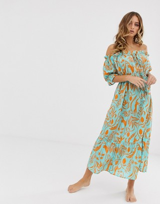 Asos Design DESIGN off shoulder tiered maxi beach dress in blocked green tropical floral