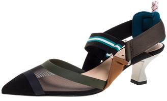 Fendi Multicolor Mesh And Fabric Colibri Slingback Pointed Toe Sandals Size 37