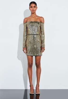 Missguided Gold Embellished Bardot Mini Dress