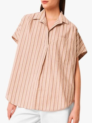 French Connection Verve Stripe Popover Shirt, Neutral/Multi
