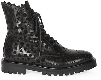 Alaia Laser Cut Leather Combat Boots