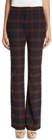 Derek Lam 10 Crosby Plaid Flare Trousers, Red/Midnight