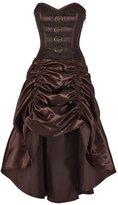 CorsetDeal Spiral Boned Steampunk Brocade Overbust Corset Dress-L