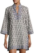 Tory Burch Scultura Beach Tunic Coverup Dress, White Pattern