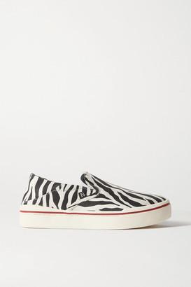 R 13 Zebra-print Canvas Collapsible-heel Sneakers
