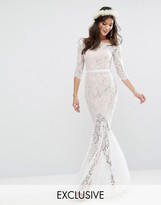 Jarlo Bridal Bardot Lace Maxi Dress with Fishtail