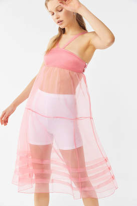 Out From Under Daphne Sheer Tiered Midi Slip Dress