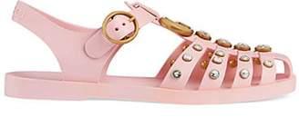 Gucci Women's Crystal-Embellished Rubber Sandals - Pink
