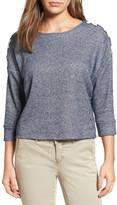 Caslon Lace-Up Sleeve Sweatshirt (Regular & Petite)