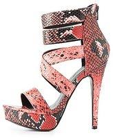 Charlotte Russe Faux Snakeskin Platform Dress Sandals