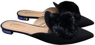 Aquazzura Powder Puff Black Suede Sandals