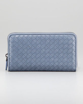 Bottega Veneta Woven Leather Continental Zip Wallet, Light Blue