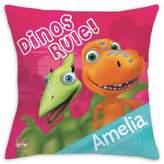 """Dinos Rule"" Square Throw Pillow"