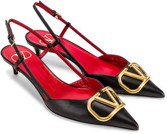 Valentino V Logo Slingback Kitten Heels in Black | FWRD