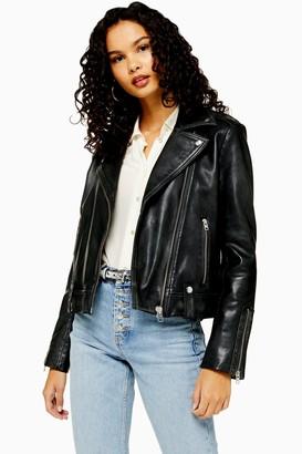Topshop Womens Real Leather Biker Jacket - Black