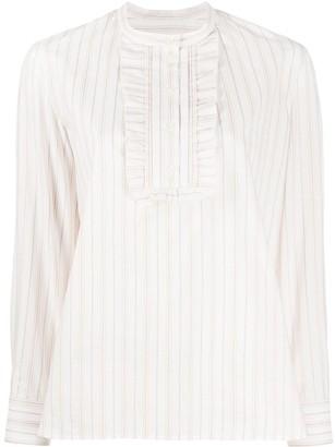 A.P.C. Striped-Print Ruffle-Trim Shirt
