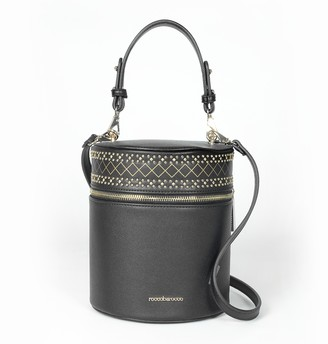 Roccobarocco Tacos Black Studded Bucket Bag