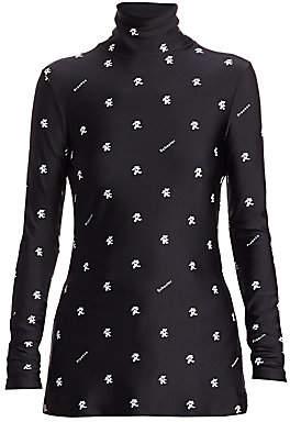 Proenza Schouler White Label Women's Print Long-Sleeve Jersey Turtleneck Top