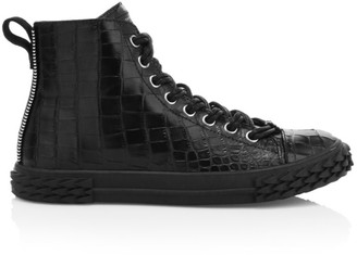 Giuseppe Zanotti Crocodile-Embossed Leather High-Top Sneakers