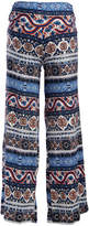 Glam Blue & Red Floral Stripe High-Waist Maternity Palazzo Pants