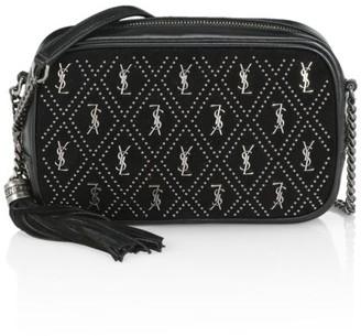 Saint Laurent Mini Lou Embellished Suede Camera Bag