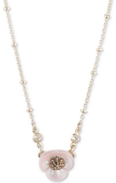 """lonna & lilly Gold-Tone Crystal & Imitation Mother-of-Pearl Flower Pendant Necklace, 16"""" + 3"""" extender"""
