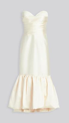 Sandra Mansour Strapless Mikado Pleated Ruffled Dress