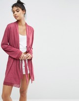 Asos Lace Trim Long Sleeve Robe