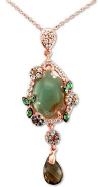 "LeVian Le Vian Peacock Aquaprase (16 x 11mm) & Multi-Gemstone (1-9/10 ct. t.w.) 20"" Pendant Necklace in 14k Rose Gold"