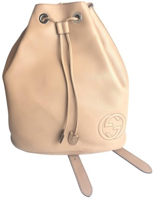 Gucci Soho Camel Leather Backpacks