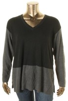 Vince Camuto Womens Waffle Knit Colorblock V-Neck Sweater