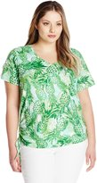 Caribbean Joe Women's Plus-Size Pineapple Printed Short Sleeve V Neck Tee Shirt