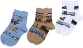 Jefferies Socks Transportation Triple Treat 3-Pack Boys Shoes