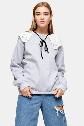 Topshop Grey Marl Collared Sweatshirt