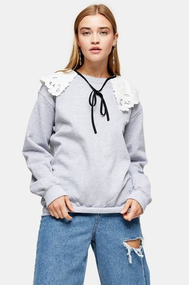 Topshop Womens Grey Marl Collared Sweatshirt - Grey