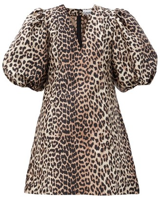Ganni Puff-sleeve Leopard-jacquard Mini Dress - Leopard
