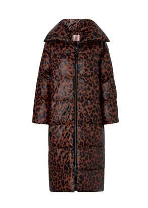 Kitri Tamara Leopard Print Faux Leather Puffer Coat