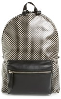 Alexander McQueen Men's Skull Print Coated Canvas Backpack With Leather Trim - Black